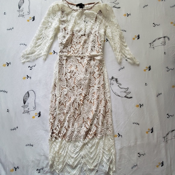 Forever 21 Dresses & Skirts - Cream Lace Long Sleeve Body Con Dress